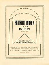 Construction business Darsow Koszalin XL 1924 ad Köslin  advertising Pomerania +