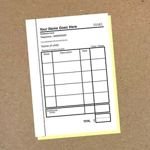 Childminding / Weekly Invoice Book - 50 A5 on Duplicate NCR - Personalised
