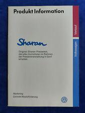VW Sharan Carat VR6 - Pressetext Produkt-Information - Prospekt Brochure 1995