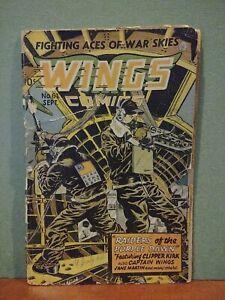 """Wings Comics #61 cover detached -""""Captain Wings""""!  Golden Age! Bondage!"""