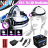 10000LM XML T6 LED Headlight Zoomable Headlamp Flashlight Torch 18650 Charger