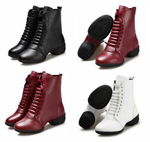 Women Leather Boot Dance Shoes Lace Up Sport Dancing Jazz Shoes Soft Sole