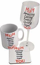 MUM Wine Glass, Ceramic Mug and Coaster Gift Set - Mother's Day Gifts