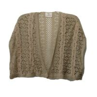 Pins and Needles Womens Crochet Shrug XS Open Front Cardigan Sweater Vest Beige