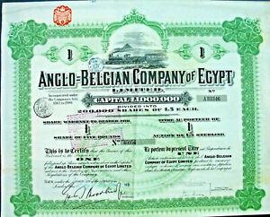 Ägypten Anglo-Belgian Company of Egypt London 1919 hist. Eisenbahn Aktie Afrika