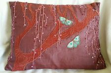 "Purple Silk Butterfly Sequin Embroidered Scatter Cushion 16"" x 11.5"" Approx"
