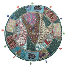 Ethnic Round Floor Cushion Cover Vintage Patchwork Green 28x28 Cotton Foot Stool