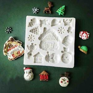 Christmas Silicone Snow Tree Deer Cake Mould Fondant Baking Chocolate Decor Mold
