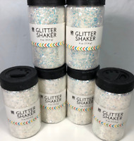 6 Glitter Shakers White Pearl Sparkle Iridescent Clear DISCO Nicole Crafts 4 oz