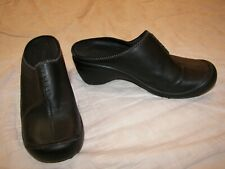 Women's Privo Black Leather Mules Shoes - 9.5M