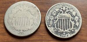 1870 1872 1924 D Shield Nickel Lot Buffalo Nickel Lot