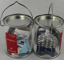 New Lot of 2 Cans With 50 Count Gift Tags Each / Total of 100 Tags Snowman Theme