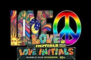 1969 Love Initials Gum 10c Stickers Wax Wrapper Shop Empty Display Box - Test?