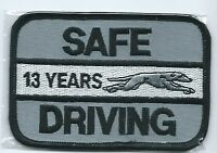 """Greyhound Bus """"13 years safe driving"""" driver patch 2-1/2 X 3-3/4 inch"""