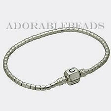 "Authentic Chamilia Silver Terrazzo Beaded Bracelet With Snap Lock 7.5"" 1015-0002"