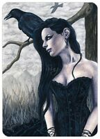 Gothic Fantasy Art ACEO PRINT Raven crow tree woman corset portrait black dress