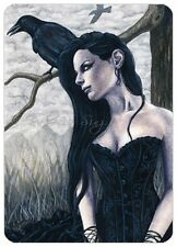 Gothic Fantasy Art ACEO PRINT Raven crow tree woman corset portrait black dress