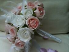 PASTEL PINK WHITE ROSES FEATHERS DIAMONTE POSY BOUQUET BRIDES WEDDING FLOWERS