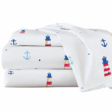 Nautical Lighthouses & Anchors Bed Sheet Set
