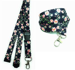 FLOWERS IN BLACK Long Lanyard As Neck Strap Holder for keys, badge, Id card etc