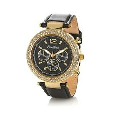CURATIONS CRYSTAL BEZEL BLACK LEATHER STRAP WATCH HSN