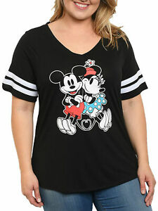 Plus Size Women's Mickey & Minnie Mouse Classic V-Neck T-Shirt Black