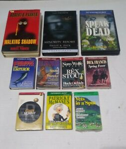 MYSTERY + AUDIOBOOK CASSETTE TAPES LOT (10) PAPERBACK AUDIO +