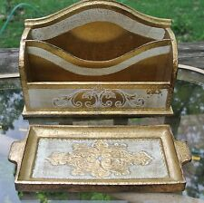 Vtge Italian Florentine Gold Wood Small Letter Holder with Tray for Knife Opener
