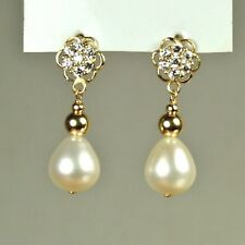 14k solid y/gold high quality 9x8mm natural Freshwater Pearl earrings screw back