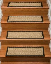 Natural Area Rugs Beach Seagrass Beige with Black Border Stair Treads Set of 13