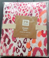 Pottery Barn Twin Duvet Cover Pink Orange FUN Cheetah Print NEW ~ SPRING SUMMER