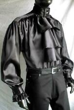 Pastor's Satin Medieval Buttoned Shirt (Black, White) - 1637