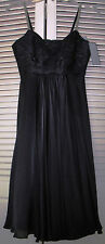 NWT Anne Klein New York Black Spaghetti-Strap 100% Silk Empire Dress, Sz. 2