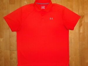 UNDER ARMOUR Mens HEAT GEAR Orange LOOSE Embroidered 2XL / XXL Polo Shirt