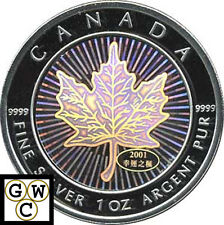 2001 Hologram 1oz Silver Maple Leaf .9999 Fine (10488) (NT)