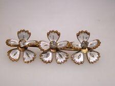 Rhinestone Forget-Me-Knot Bar Pin! Unique Antique Victorian Enamel &