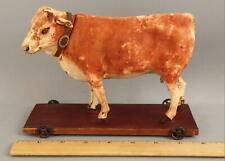 19thC Antique Folk Art Painted Paper-Mache French Cow, Moo Pull Toy