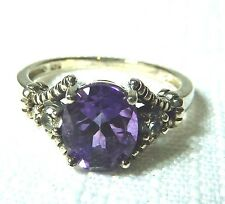 1.79 ct Genuine African Amethyst/White Topaz 925 Sterling Silver Cocktail Ring