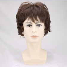 Manly Light Brown Fluffy Short Curly Men hair full Wigs +a wig cap
