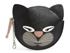 New NWT Cute Nordstrom Black Cat Faux Leather Coin Purse bag