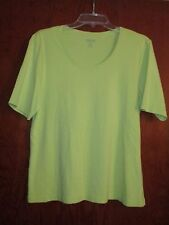 "Chicos True Color Tee 2 SS Cotton Lt.Lime Shirt Top Undrarms23"" Lng24.5"" Ret$49"