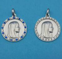 Médaille argent ronde zirconium/ Vierge Marie Notre Dame Lourdes margueriteshop