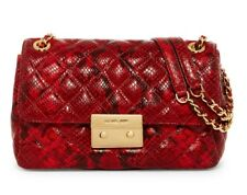 NWT $385 Michael Kors Sloan Quilted Gold Chain Shoulder bag Purse Red Snakeskin