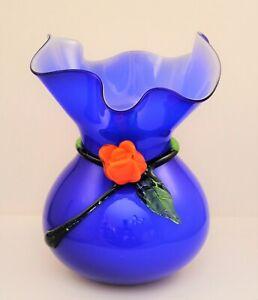 ART GLASS BLOWN BLUE VASE ATTACHED ORANGE FLOWER