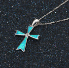Opal Cross Necklace, 925 Sterling Silver, Christmas Gift, Boxed, Chain Included