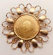 Anhänger Brosche 585 Gold & 917 Gold 8,6g Ataturk Münze Goldmünze Türkei 1964