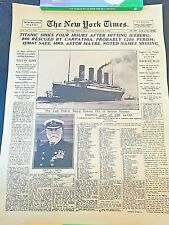 The New York Times History Poster Titanic Shipwreck  Newspaper Retro Kraft Paper