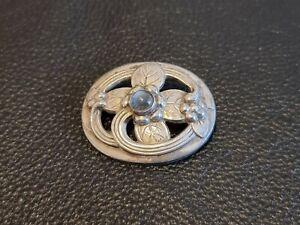 Denmark Georg Jensen 925 Sterling Silver Moonstone Leaf Swirl Brooch #138