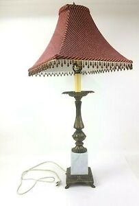 Vintage Marble Base Lamp Red Gold Striped Beaded Shade