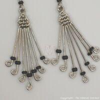 Maasai Market African Kenya Jewelry Silver Wire Masai Bead Weave Earring 643-80